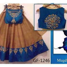 Blue and brown designer lehenga choli FABRIC: Raw silk lehnga Banglori silk blouse Georgette duppata Sale Price : 3450 INR Only ! CASH ON DELIVERY Available In India ! World Wide Shipping ! For orders / enquiry WhatsApp @ Or Inbox Us Worldwide Shipping ! Lehenga Choli Designs, Saree Blouse Designs, Blouse Patterns, Frock Design, Indian Attire, Indian Wear, K Fashion, Indian Fashion, Indian Dresses