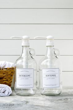 Half Gallon Jug – Laundry Soap Bottles – Detergent, Softener, Bleach – Refillable Bottles With Labels and Pump – Half Gallon Jug – Growlers - Homemade Laundry Detergent Small Laundry Rooms, Laundry Room Organization, Laundry Room Design, Laundry Detergent Storage, Laundry Closet, Laundry Drying, Laundry Tips, Natural Laundry Detergent, Do It Yourself Organization