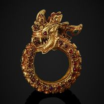 A Gold Coiled Naga Ring Inset with Gems, Thailand 16 - 17th Century