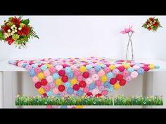 鉤編織漂亮毯子 甜蜜馬卡龍毯 - YouTube