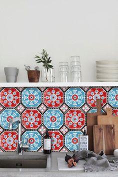 Tile Decals - Tiles for Kitchen/Bathroom Back splash - Floor decals - Hand Painted Turkish Trefle Vinyl Tile Sticker Pack in Turquoise Red