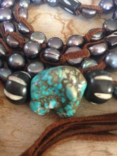 SALE Pearls turquoise wood and leather by JulieMoloneyDesigns