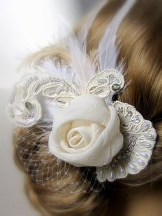 Ivory Fabric Flower Bridal Fascinator with by svitlanasbridalveils, $55.95