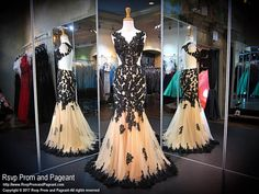 Sexy yet elegant with this black and nude lace dress that has a high mesh neckline, side cut outs, an open back, and a mermaid fit, and it's at Rsvp Prom and Pageant, your source of the HOTTEST Prom and Pageant Dresses!