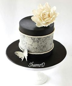 Black box with lace and pearls