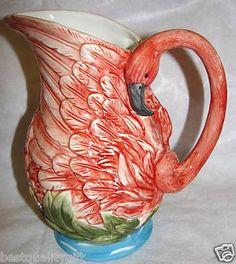 Pink flamingo vintage water pitcher. Kitsch love.