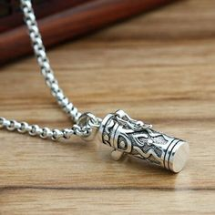 """Men's Sterling Silver Scriptures Box Necklace with Sterling Silver Rolo Chain 18""""-30"""""""