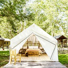 purists who scoff at the idea of a camping trip that includes fine linens, throw rugs, and wine tastings will definitely want to avoid El Capitan Canyon resort—a luxe outpost north of Santa Barbara with tricked-out tents, cabins, and yurts.