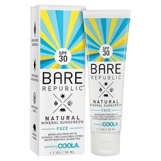 Bare Republic Mineral Face Sunscreen Lotion SPF 30 - 1.7oz (This is **the** best facial sunscreen! Light, moisturizing, non greasy, never sticky, no chalky residue, makeup applies flawlessly over it!)