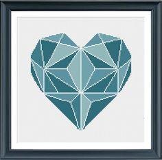 Modern cross stitch pattern heart turquoise от Happinesst на Etsy