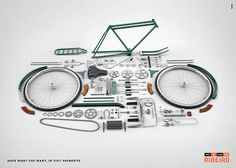 The Print Ad titled Minicuotas Ribeiro: Pieces, Bike was done by Dentsu Buenos Aires advertising agency for Minicuotas Ribeiro in Argentina. Things Organized Neatly, Bike Components, Branding, Bicycle Parts, Bike Art, Creative Advertising, Bicycle Design, Cycling Outfit, Women's Cycling