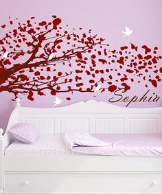 Little Girls Room - Red & Brown Blowing Tree Personalized Wall Decal Set | Daily deals for moms, babies and kids