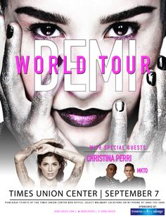 #DemiWorldTour Demi with Cristina Perry & MKTO at the Times Union Center on Sept 7th! http://www.timesunioncenter-albany.com/