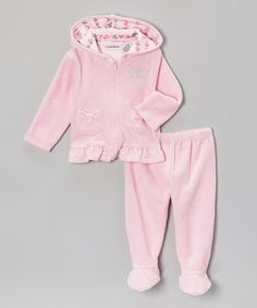 Take a look at this Light Pink Velour Zip-Up Hoodie & Footie Pants by Calvin Klein Underwear on #zulily today!