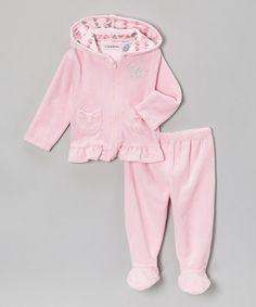 Look at this #zulilyfind! Light Pink Velour Zip-Up Hoodie & Footie Pants by Calvin Klein Underwear #zulilyfinds