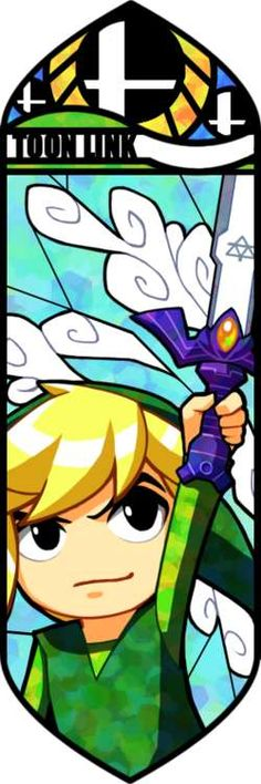 Another vector illustration of Link, but toon Link this time.  Due to the graphic style of the video game that toon Link is based on, this stained glass mosaic fits great.  The different hues of green and layers on Link's tunic looks just like camo in this one.  The outlines are contrasting and deep and add a lot more to this design.