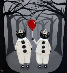 The Clowns Halloween Cat Original Folk Art by KilkennycatArt (Ryan Conners)