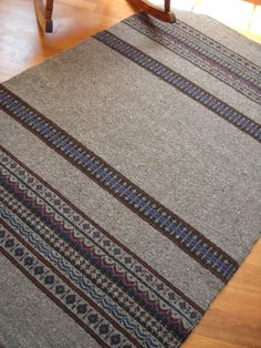 Handwoven Nordic Wool Rug Large Flat Weave by LokenLoomWeaving