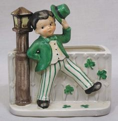 Vintage Napco Planter Dancing Irish Boy by Lamp Post St. Patrick's Day