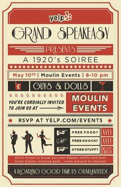 Yelp's Grand Speakeasy -- A Soiree! Prohibition Party, Speakeasy Party, 1920s Party, Flapper Party, Great Gatsby Theme, Great Gatsby Wedding, Cabaret, Roaring 20s Theme, Roaring Twenties