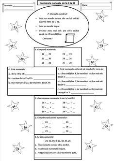 Numerele naturale de la 0 la 31 Chores For Kids, Math For Kids, Activities For Kids, Homework Sheet, Birthday Activities, Math Numbers, School Lessons, Kids Corner, After School
