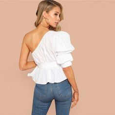 White One Shoulder Puff Sleeve Peplum Knot Belted Ruffle Elegant Party Blouse Blouse Outfit, Peplum Blouse, Collar Styles, Ruffle Top, Types Of Sleeves, Blouses For Women, One Shoulder, Shoulder Sleeve, Fashion Hats