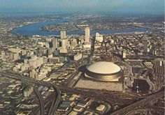 Louisiana New Orleans Superdome Crescent City Mississippi River Bridge Postcard New Orleans Superdome, Paris Skyline, New York Skyline, New Orleans Louisiana, Crescent City, Best Cities, Home And Away, Aerial View, Cool Pictures
