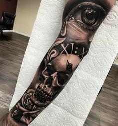 Sullen Hand Tattoos — Hand Tattoos & Home Decor Skull Girl Tattoo, Skull Sleeve Tattoos, Forearm Sleeve Tattoos, Best Sleeve Tattoos, Sleeve Tattoos For Women, Tattoo Sleeve Designs, Leg Tattoos, I Tattoo, Tattoos For Guys