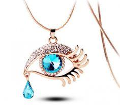 Ağlayan Mavi Göz Altın Kaplama Kolye