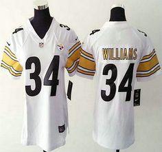 Women's Nike Steelers Jersey 34 DeAngelo Williams Nike White Game Jerseys