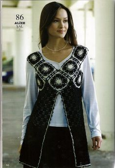 Tunica-Chaleco Escote Cuadrados Crochet Patron