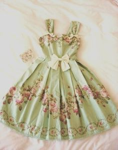 pink and green vintage dress