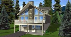 House Plan 99975   A-Frame    Plan with 1916 Sq. Ft., 3 Bedrooms, 2 Bathrooms, 1 Car Garage