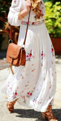Boho embroidered floral maxi dress and tassle crossbody bag