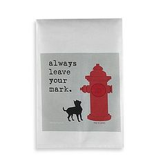 This funny and whimsical Leave Your Mark Bar Towel is made from absorbent 100% cotton. Screen printed with a canine-themed design, this towel is perfect for dog lovers and makes a great hostess gift.
