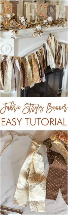 Learn how to make a DIY fabric scrap banner with this fabric tie banner tutorial. All you need are strips of fabric & twine. via @homestoriesatoz