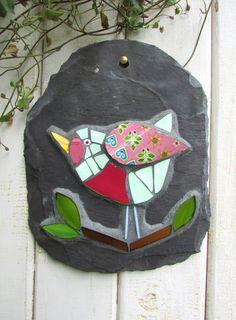 Bird Mosaic on Slate ~ Wall Art Plaque ~ Bird Lover Gift ~ Recycled Garden Art…