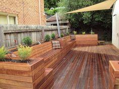 deck seating backyard ideas deck bench wood with planters Deck Bench Seating, Backyard Seating, Outdoor Seating, Backyard Patio, Backyard Landscaping, Backyard Ideas, Landscaping Ideas, Built In Garden Seating, Patio Ideas