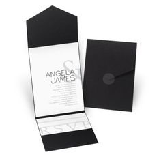 Guests will marvel over the contemporary design of this pocket wedding invitation featuring your names with a stylized ampersand. The ampersand is printed in a lighter shade of your choice of color. Your wording is printed in your choice of colors and fonts. This invitation is tucked inside an elegant black pocket. Enclosure cards are sold separately and are tiered for stacking inside the pocket. Glue dots are included for attaching invitations to pockets and clear round seals are included…