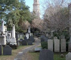 A view of the St. Philips church steeple from the historic cemetery at the Circular Congregational Church - Charleston, SC