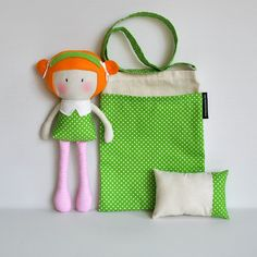 RESERVED for Lisa Frazer - My Teeny-Tiny Doll Lola and Carry-Me Messenger Bag and Teeny-Tiny Pillow Set. $70.00, via Etsy.