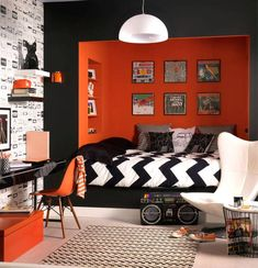 Teen boy bedroom decor cool bedroom designs for teenagers boys teen bedroom decorating ideas awesome teen Orange Rooms, Bedroom Orange, White Bedroom, Monochrome Bedroom, Charcoal Bedroom, Rock Bedroom, Funky Bedroom, Orange Walls, Trendy Bedroom