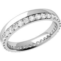 A stylish offset ladies diamond set wedding ring in 18ct white gold