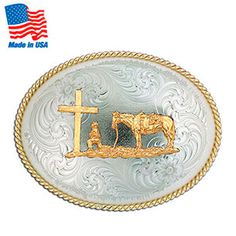 Cross and horse belt buckle
