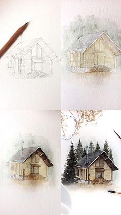 (@rosies.sketchbook) Watercolor painting process photos.  #watercolor #watercolour #painting #sketch #art #artist #artwork #draw #drawing #doodle #watercolorist #illustration #illustrate