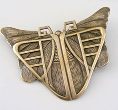 Vintage Brooch - Art Deco Brooch  - Butterfly Jewelry - Statement Jewelry - Vintage Brass Jewelry - handmade jewelry (30.00 USD) by chloesvintagejewelry