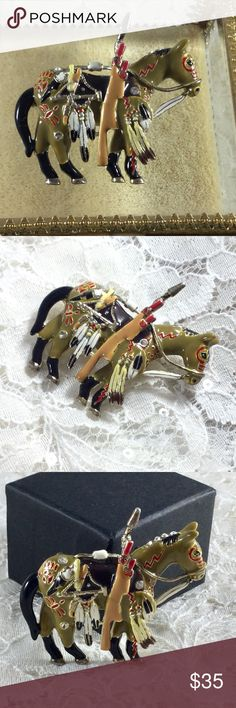 Vintage TOPP Detailed Enamel Indian Horse Brooch Amazing detail with feathers, bow and arrows, red ring around eye, seven clear rhinestone  accents....and more! TOPP Jewelry Brooches