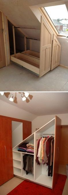 Attic Closet Ideas & Walk-in attic room storage room includes a sloped ceiling lined with. The post Attic Closet Ideas & Walk-in attic room storage room includes a sloped ceiling l& appeared first on Home Decor By Jessica. Attic Bedroom Storage, Attic Master Bedroom, Attic Bedroom Designs, Closet Bedroom, Attic Closet, Attic Office, Diy Bedroom, Garage Attic, Bedroom Furniture