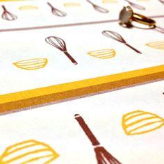 レトロモダンなキッチンツール柄のラッピングペーパー☆クッキングスクール☆  #Wrappingpaper #textile