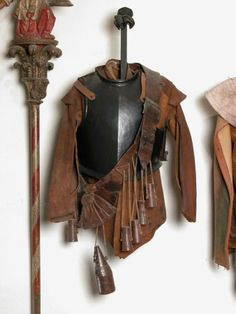 (NT 1328787) Leather jacket. 1630-1670. Snowshill Manor, National Trust, England. 2 pictures.